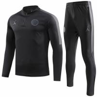 18-19 PSG JORDAN 3rd Away Black Zipper Sweat Shirt Kit(Top+Trouser)