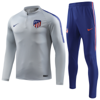 18-19  Atletico Madrid Gray Zipper Sweat Shirt Kit(Top+Trouser)