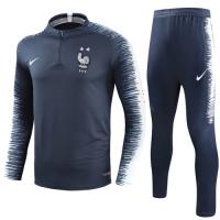 2018 World Cup France Two Stars Blue Zipper Sweat Shirt Kit(Top+Trouser)