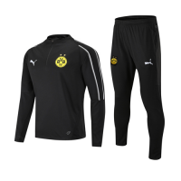 18-19 Borussia Dortmund Black Zipper Sweat Shirt Kit(Top+Trouser)