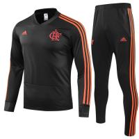 18-19 CR Flamengo Black Sweat Shirt Kit(Top+Trouser)