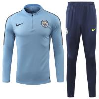 18-19 Manchester City Blue Zipper Sweat Shirt Kit(Top+Trouser)