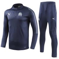 18-19 Marseille Navy Zipper Sweat Shirt Kit(Top+Trouser)