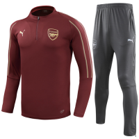 18-19 Arsenal Red Zipper Sweat Shirt Kit(Top+Trouser)
