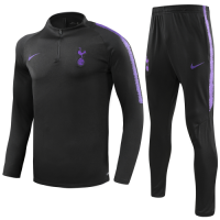 18-19Tottenham Hotspur Black Zipper Sweat Shirt Kit(Top+Trouser)