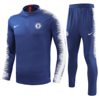 18-19 Chelsea Zipper Blue Sweat Shirt Kit(Top+Trouser)
