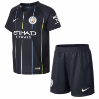 18-19 Manchester City Away Navy Soccer Jersey Kit(Shirt+Short)