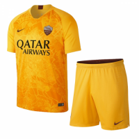 18-19 Roma Third Away Yellow Soccer Jersey Kit(Shirt+Short)