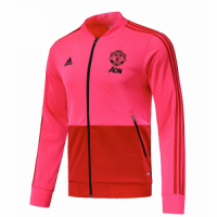 18-19 Mancehster United Pink&Red V-Neck Track Jacket