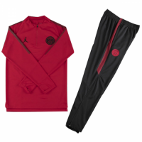 Kids 18-19 PSG JORDAN 3rd Away Red Sweat Shirt Kit(Top+Trouser)