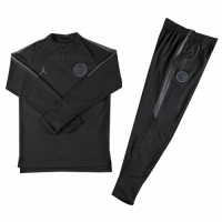 Kids 18-19 PSG JORDAN 3rd Away Black Sweat Shirt Kit(Top+Trouser)