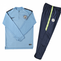 Kids 18-19 Manchester City Blue Sweat Shirt Kit(Top+Trouser)
