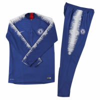 Kids 18-19 Chelsea Zipper Player Version Sweat Shirt Kit(Top+Trouser)