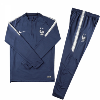 Kids 2018 World Cup France Two Stars Blue Sweat Shirt Kit(Top+Trouser)