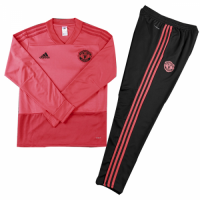Kids 18-19 Manchester United Red Sweat Shirt Kit(Top+Trouser)