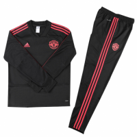 Kids 18-19 Manchester United Black Sweat Shirt Kit(Top+Trouser)