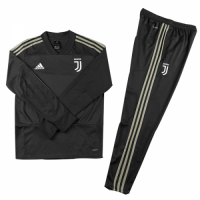 Kids 18-19 Juventus Black Sweat Shirt Kit(Top+Trouser)