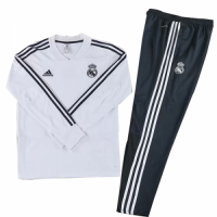 Kids 18-19 Real Madrid White Sweat Shirt Kit(Top+Trouser)