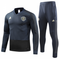 18-19 Manchester United Navy Sweat Shirt Kit(Top+Trouser)