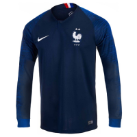 2018 World Cup France Home Shirt Two Stars Long Sleeve Soccer Jersey Shirt