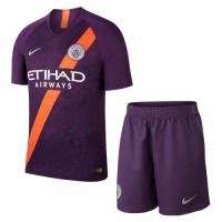 18-19 Manchester City Third Away Purple Soccer Jersey Kit(Shirt+Short)