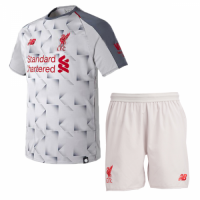 18-19 Liverpool Third Away Light Grey Soccer Jersey Kit(Shirt+Short)