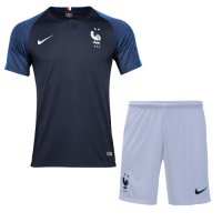 2018 World Cup France Home Shirt Two Stars Soccer Jersey Kit(Shirt+Short)