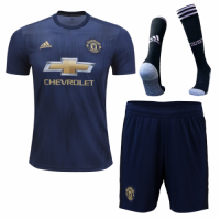 18-19 Manchester United Third Away Navy Jersey Whole Kit(Shirt+Short+Socks)