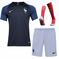 2018 World Cup France Home Shirt Two Stars Soccer Jersey Kit(Shirt+Short+Socks)