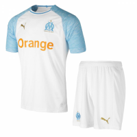 18-19 Marseilles Home White Soccer Jersey Kit(Shirt+Short)