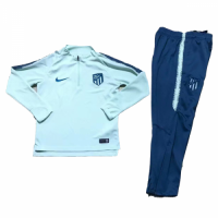 Kids 18-19 Atletico Madrid Green Sweat Shirt Kit(Top+Trouser)