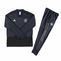 Kids 18-19 Manchester United Navy Sweat Shirt Kit(Top+Trouser)