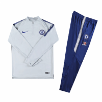 Kids 18-19 Chelsea Gray&White Sweat Shirt Kit(Top+Trouser)