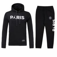 Kids 18-19 PSG JORDAN 3rd Away Black Hoody Sweat Shirt Kit(Top+Trouser)