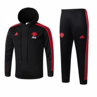 Kids 18-19 Manchester United Black Hoody Sweat Shirt Kit(Top+Trouser)