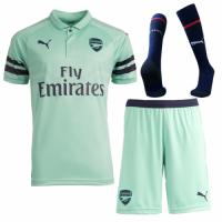 18-19 Arsenal Third Away Green Soccer Jersey Whole Kit(Shirt+Short+Socks)