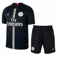 18-19 PSG JORDAN 3rd Away Player Version Black Soccer Jersey Kit(Shirt+Short)