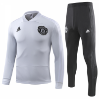 18-19 Manchester United White Sweat Shirt Kit(Top+Trouser)