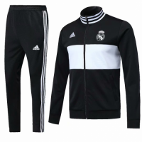18-19 Real Madrid Black High Neck Collar Training Kit(Jacket+Trouser)