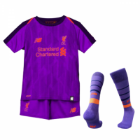 18-19 Liverpool Away Purple Children's Jersey Whole Kit(Shirt+Short+Socks)