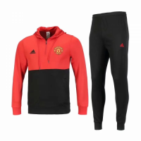 18-19 Manchester United Red&Black Hoody Sweat Shirt Kit(Top+Trouser)