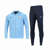 18-19 Manchester City Light Blue Hoody Training Kit(Jacket+Trouser)