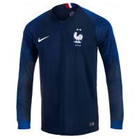 2018 World Cup France Home Shirt Two Stars Long Sleeve Soccer Jersey Shirt