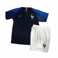 2018 World Cup France Home Shirt Two Stars Children's Jersey Kit(Shirt+Short)