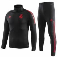 18-19 Real Madrid Black Turtleneck Sweat Shirt Kit(Top+Trouser)