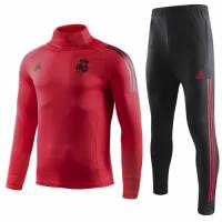 18-19 Real Madrid Red Turtleneck Sweat Shirt Kit(Top+Trouser)