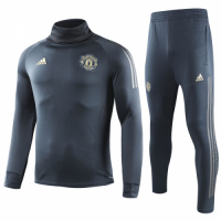 18-19 Manchester United Dark Gray Turtleneck Sweat Shirt Kit(Top+Trouser)