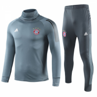 18-19 Bayern Munich Gray Turtleneck Sweat Shirt Kit(Top+Trouser)