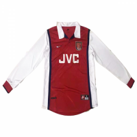 1998 Arsenal Retro Home Red&White Long Sleeve Jersey Shirt