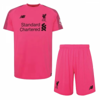 18-19 Liverpool Goalkeeper Pink Soccer Jersey Kit(Shirt+Short)
